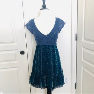 Free People blue sweater knit flocked mixed dress
